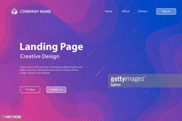 landing page template - fluid and geometric shapes composition - purple gradient - pink and blue background stock illustrations