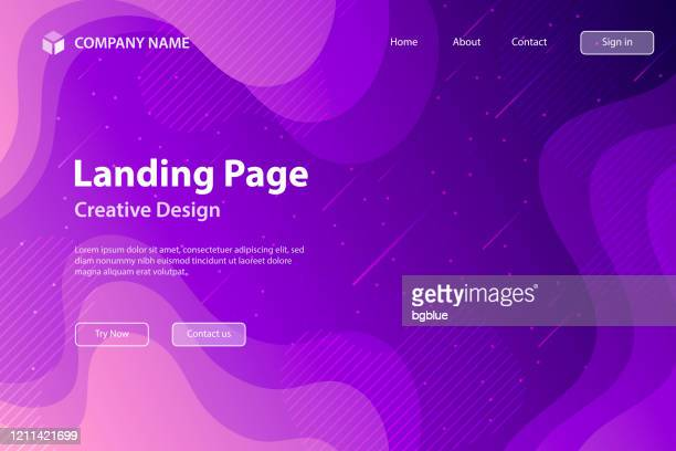 landing page template - fluid and geometric shapes composition - purple gradient - landing page stock illustrations