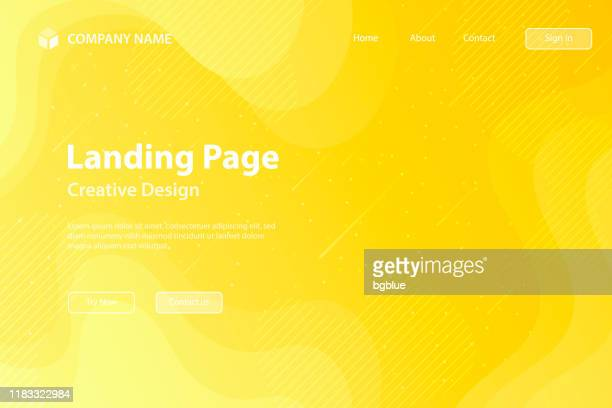 landing page template - fluid and geometric shapes composition - yellow gradient - yellow background stock illustrations