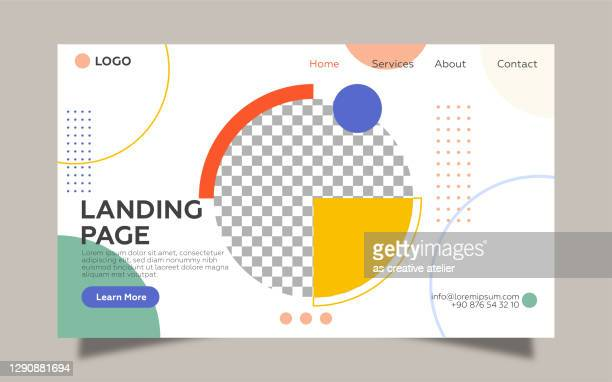 landing page template for geometric shapes. colorful design and cream color background. - slide show stock illustrations