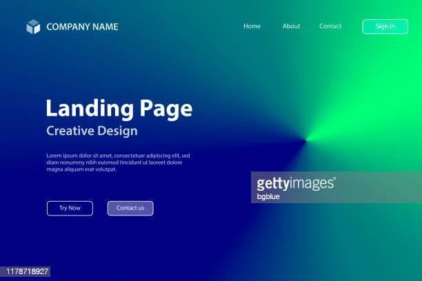 ilustrações de stock, clip art, desenhos animados e ícones de landing page template - green abstract background with radial gradient - ciência e tecnologia
