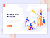 Landing page template of business and workflow management. 3D isometric concept