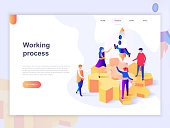 Landing page template of business processes and office situations. 3D isometric concept