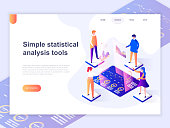 Landing page template of charts and analyzing statistics data visualization concept. 3D isometric concept