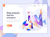Landing page template of data analysis, and office situations. 3D isometric concept