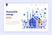 Landing page template of renewable energy modern flat design concept.