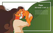 Landing page templates for  Mother's day, mom and son playing together with green background- Vector