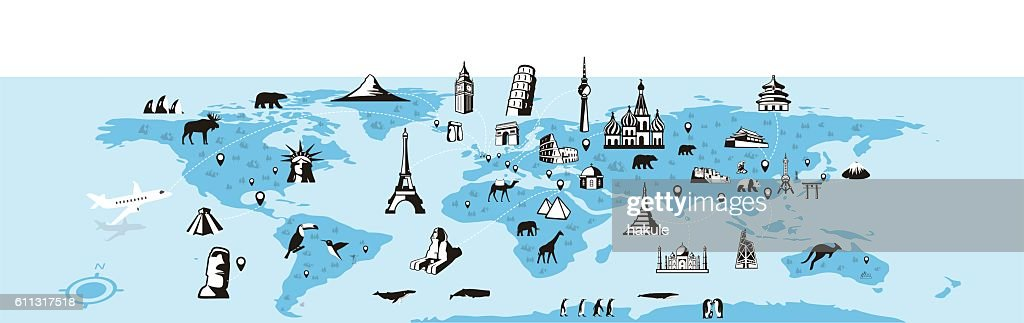 landmark and animal's map of the world, vector illustration