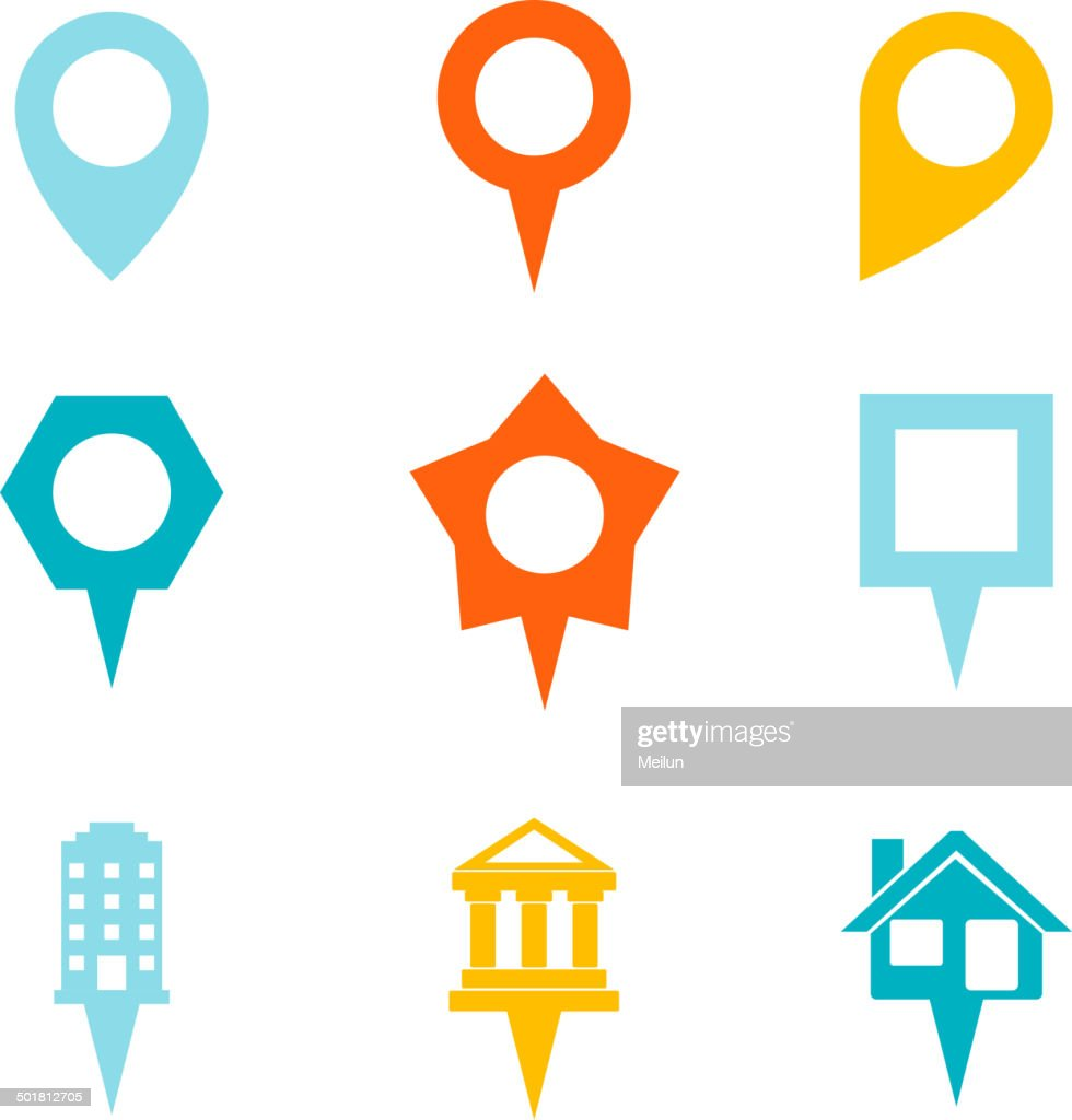 Landmark and Showplace Symbol Map Pointer Mark Icons Vector Template