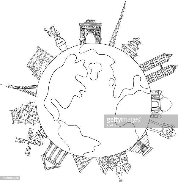 landmark around the world illustration - famous place stock illustrations