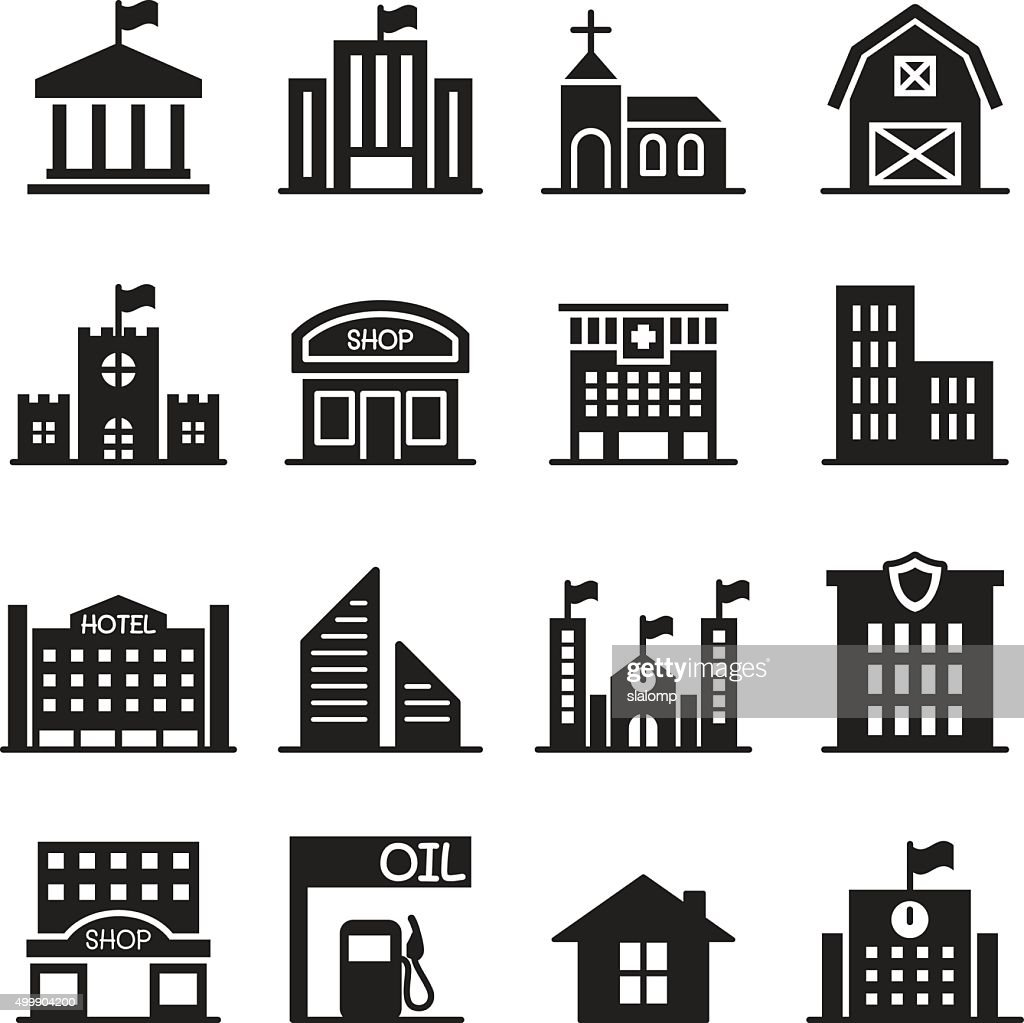 Landmark building icons set Vector illustration