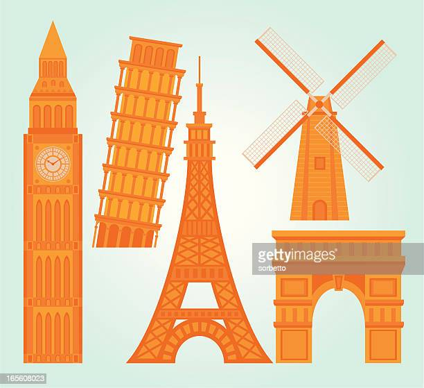 landmark collection - leaning tower of pisa stock illustrations, clip art, cartoons, & icons