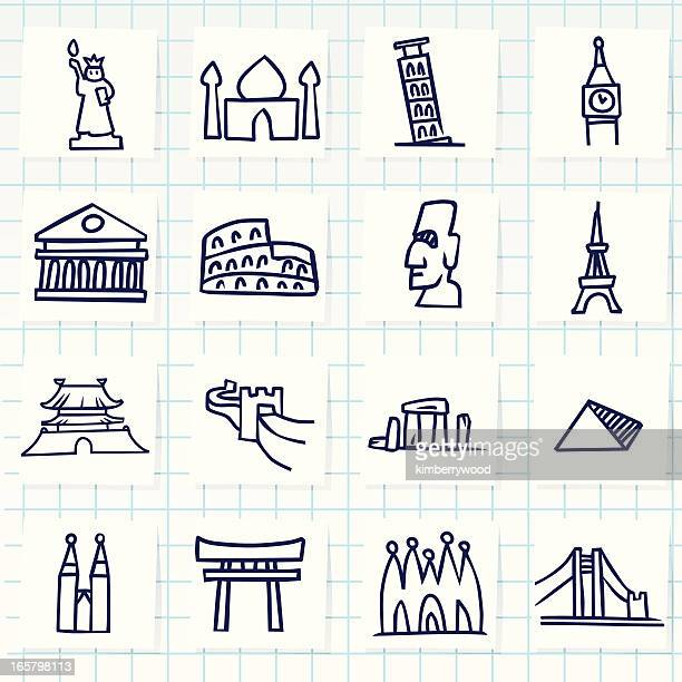 landmark icon - easter island stock illustrations, clip art, cartoons, & icons