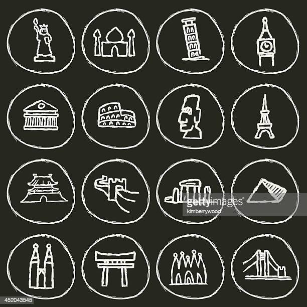bildbanksillustrationer, clip art samt tecknat material och ikoner med landmark icon - international landmark