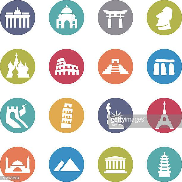 landmark icons - circle series - leaning tower of pisa stock illustrations, clip art, cartoons, & icons