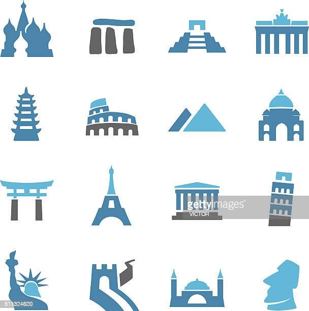 landmark icons - conc series - leaning tower of pisa stock illustrations, clip art, cartoons, & icons