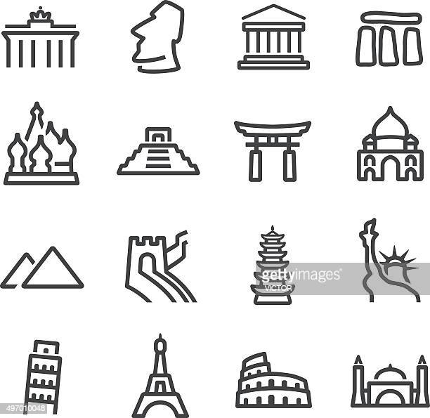 landmark icons - line series - leaning tower of pisa stock illustrations, clip art, cartoons, & icons