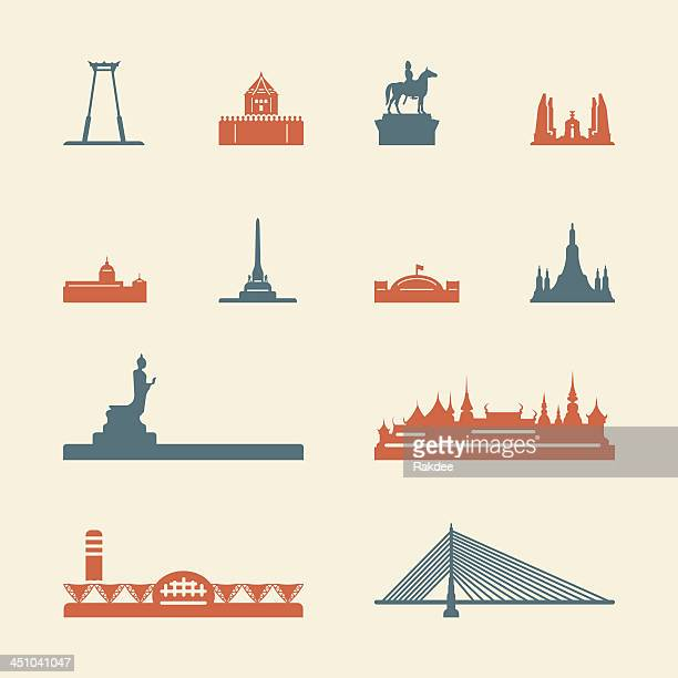 landmark of thailand icons - color series | eps10 - thailand stock illustrations