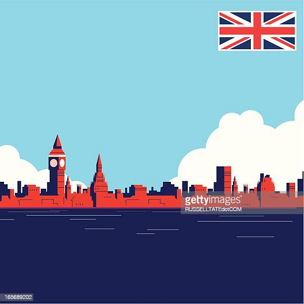 uk landmark thames - skyline stock illustrations