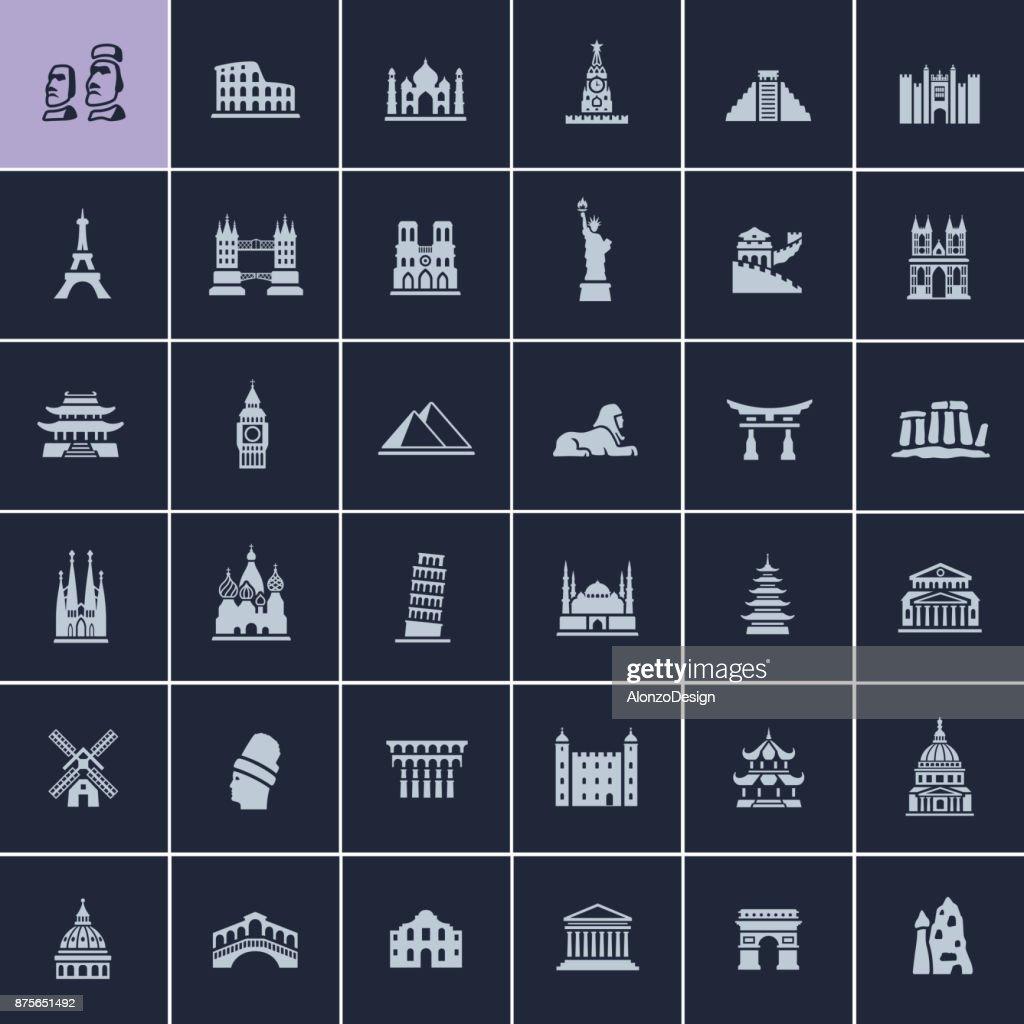 Landmark Travel Icons : stock illustration