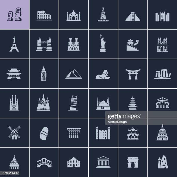 landmark travel icons - leaning tower of pisa stock illustrations, clip art, cartoons, & icons