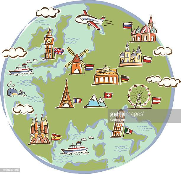 landmarks drawn on globe - brandenburg gate stock illustrations, clip art, cartoons, & icons