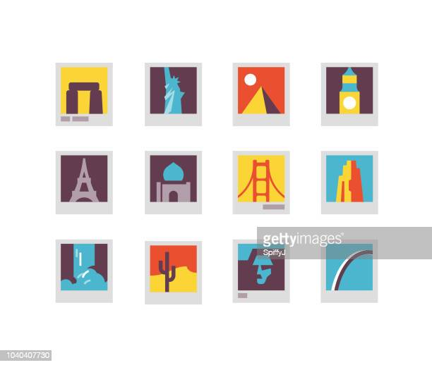 landmarks flat icons - tours france stock illustrations, clip art, cartoons, & icons