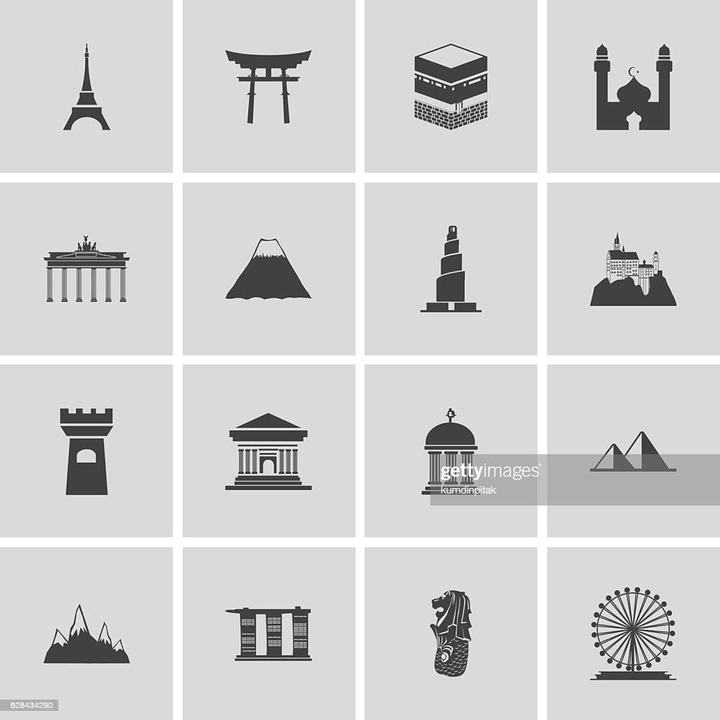 Landmarks Icons set vector