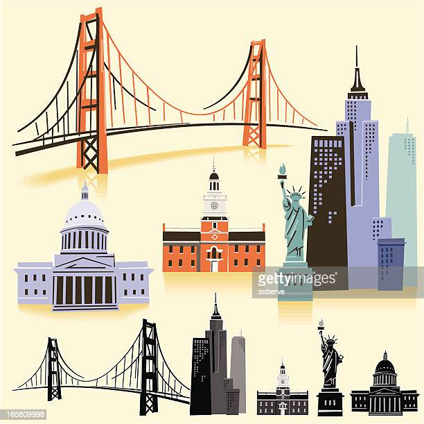 usa landmarks - famous place stock illustrations