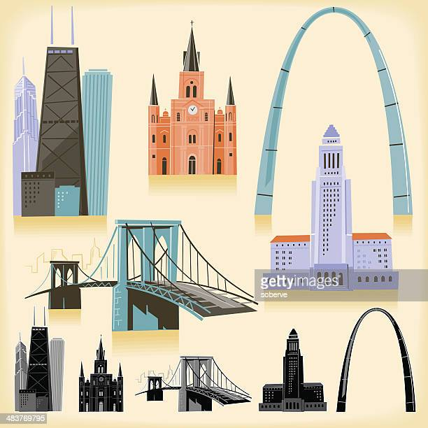 usa landmarks - brooklyn bridge stock illustrations, clip art, cartoons, & icons
