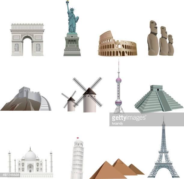 landmarks - monument stock illustrations