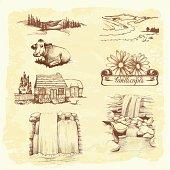 landscape, agriculture, farming, sketch drawing