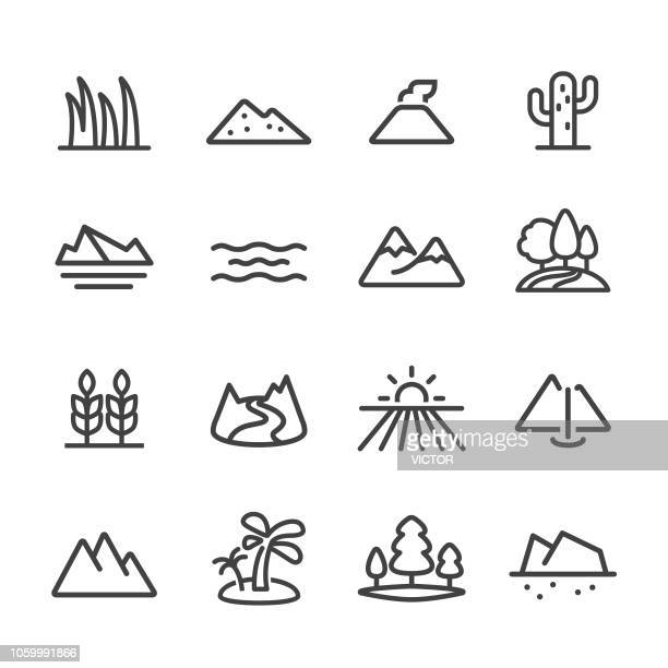stockillustraties, clipart, cartoons en iconen met landschap en landvorm icons - line serie - rivier