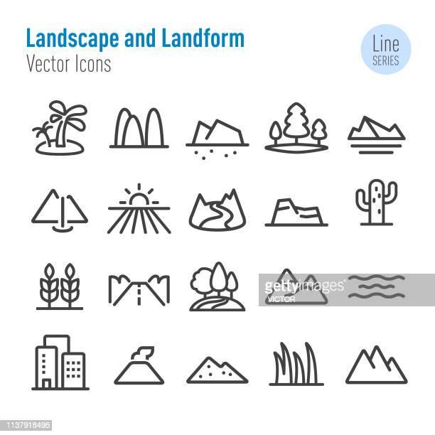 風景と地形のアイコン-ベクターラインシリーズ - 河川点のイラスト素材/クリップアート素材/マンガ素材/アイコン素材