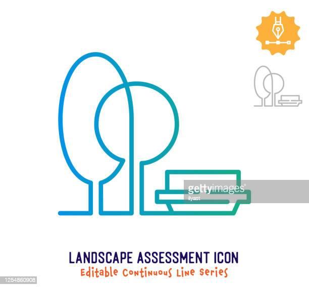 landscape assessment continuous line editable stroke line - sports venue stock illustrations