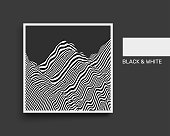 Landscape background. Terrain. Black and white background. Pattern with optical illusion. Cover design template. 3D Vector illustration.
