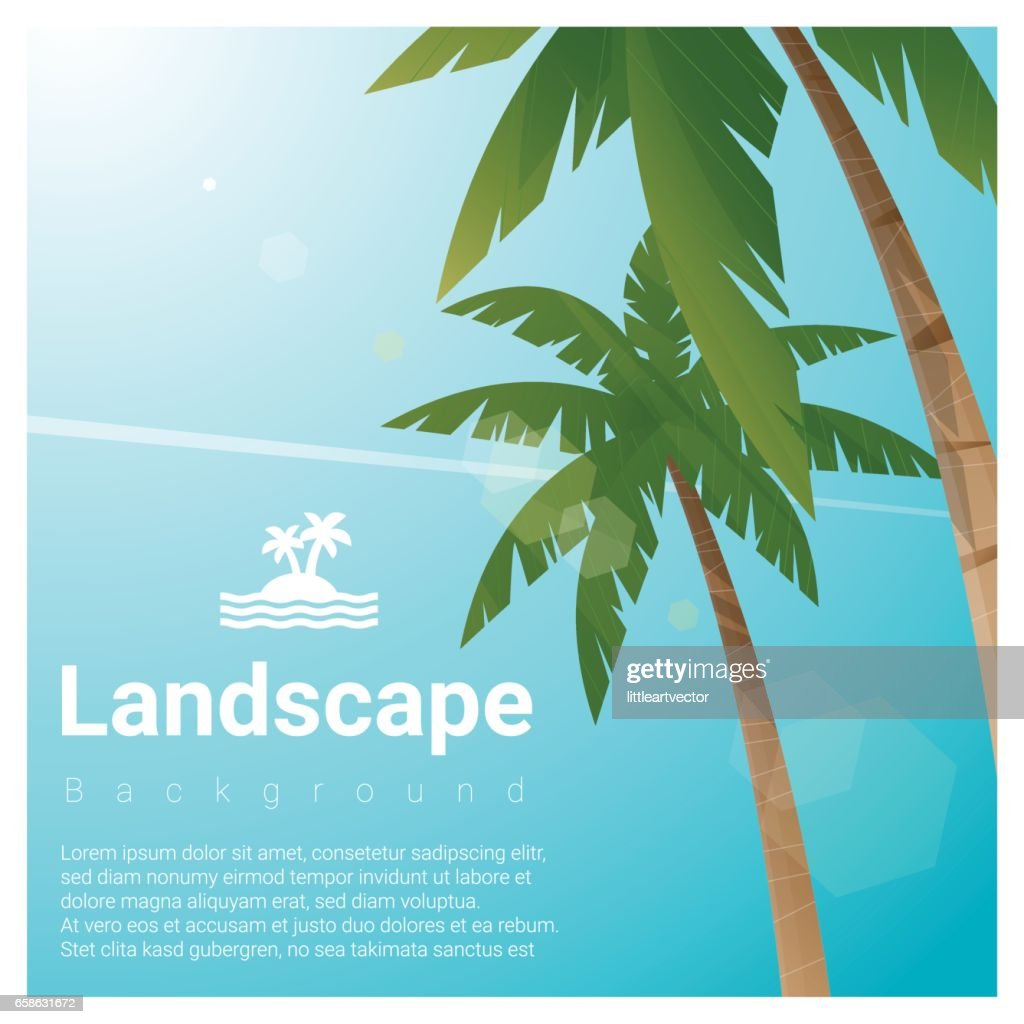 Landscape background with palm trees at tropical beach , vector , illustration