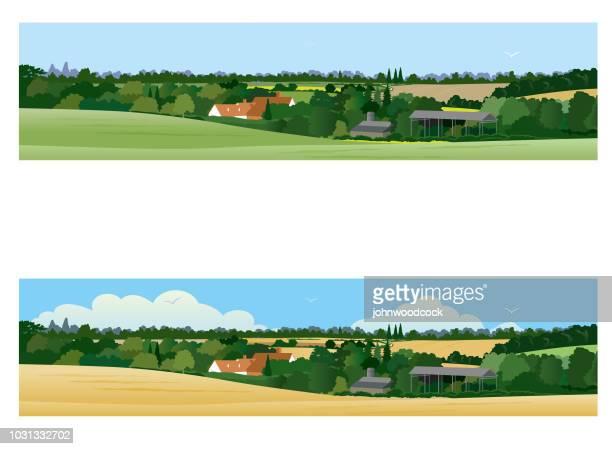 Ilustração de bandeira de paisagem