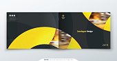 Landscape Catalog design. Yellow corporate business rectangle template brochure, report, catalog, magazine. Brochure layout modern circle shape abstract background. Creative catalog vector concept
