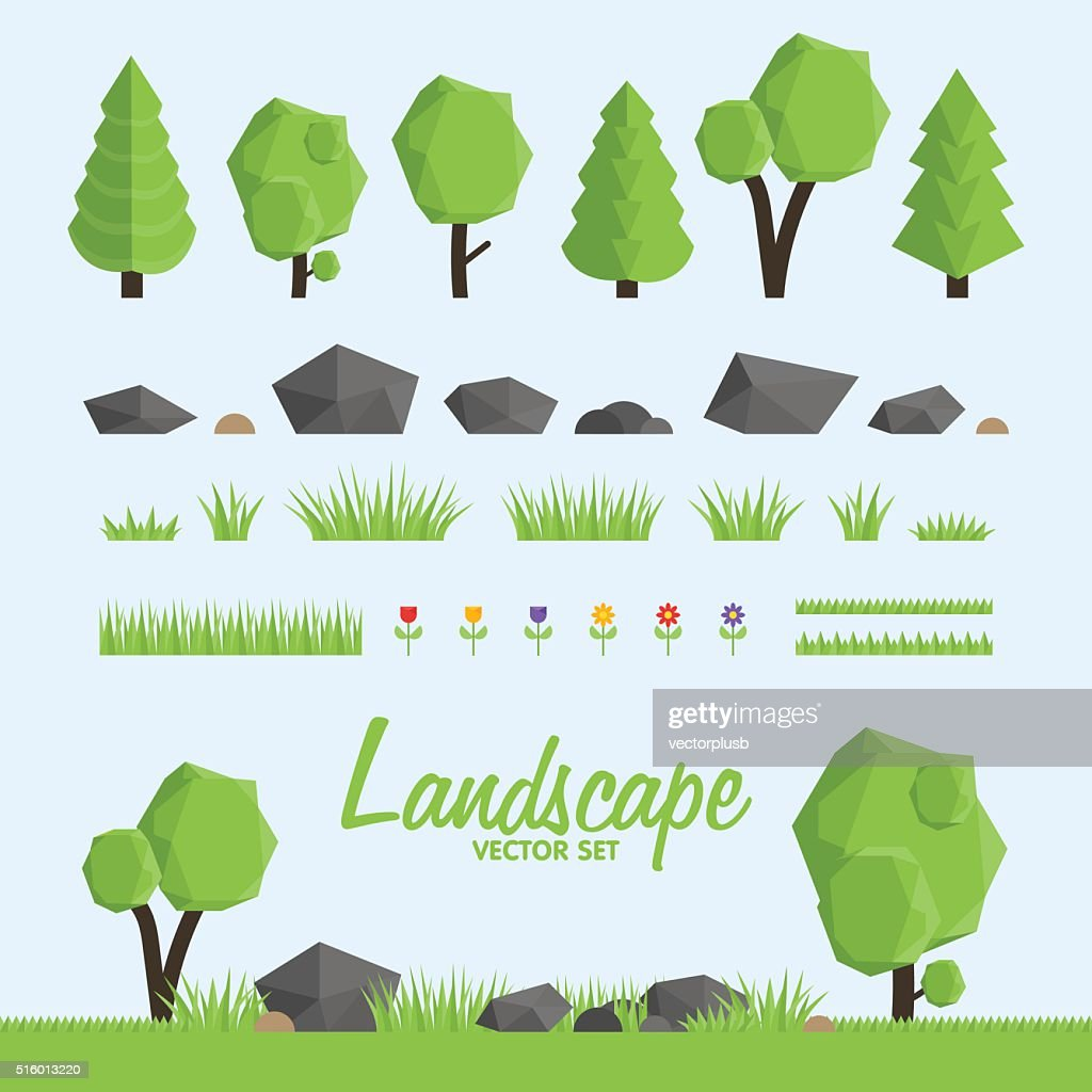 Landscape constructor icons set.  elements for landscape design.