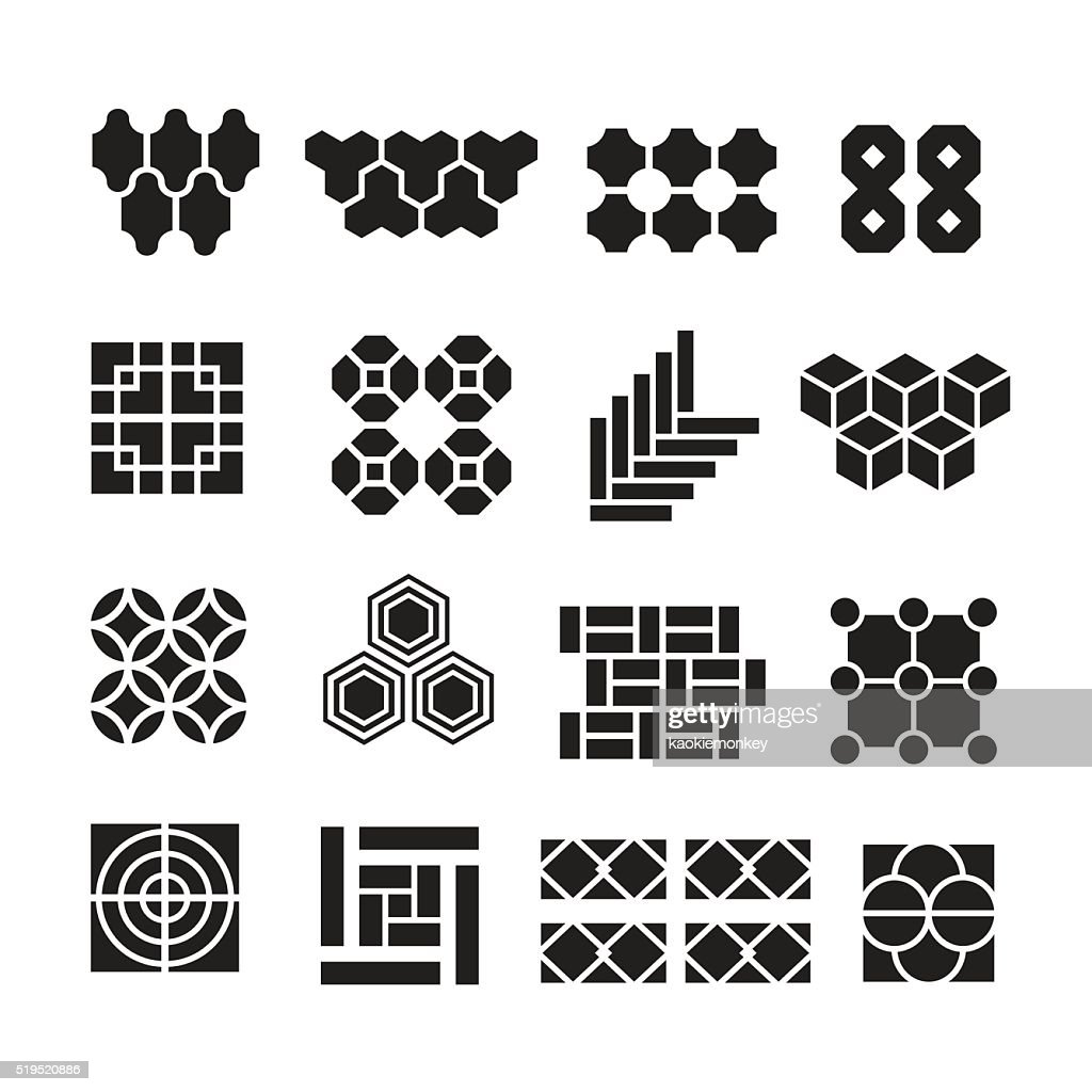 landscape design elements, pavement pattern vector set
