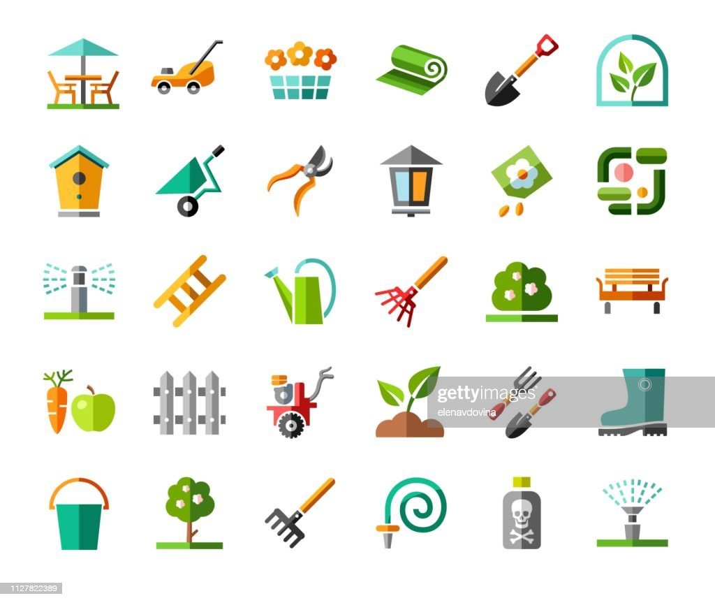 Landscape design, icons, colored, vector.