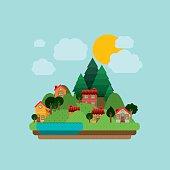 Landscape design, vector illustration.
