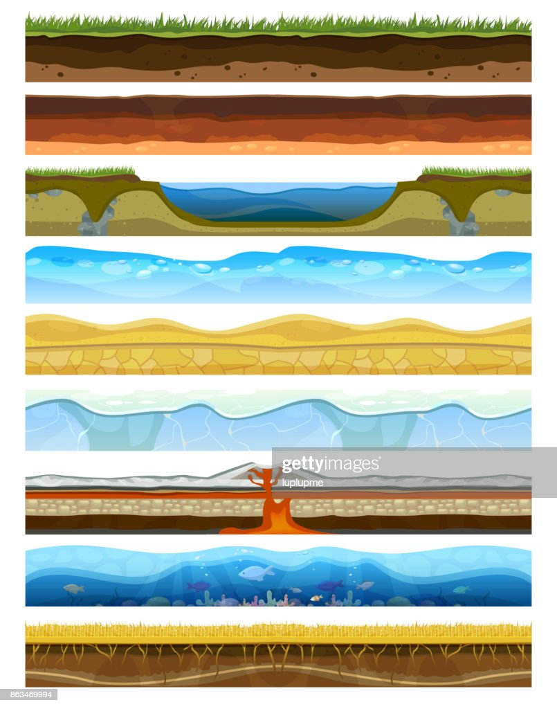Landscape earthy slice soil section mountains with water geological land underground nature cross land ground vector illustration