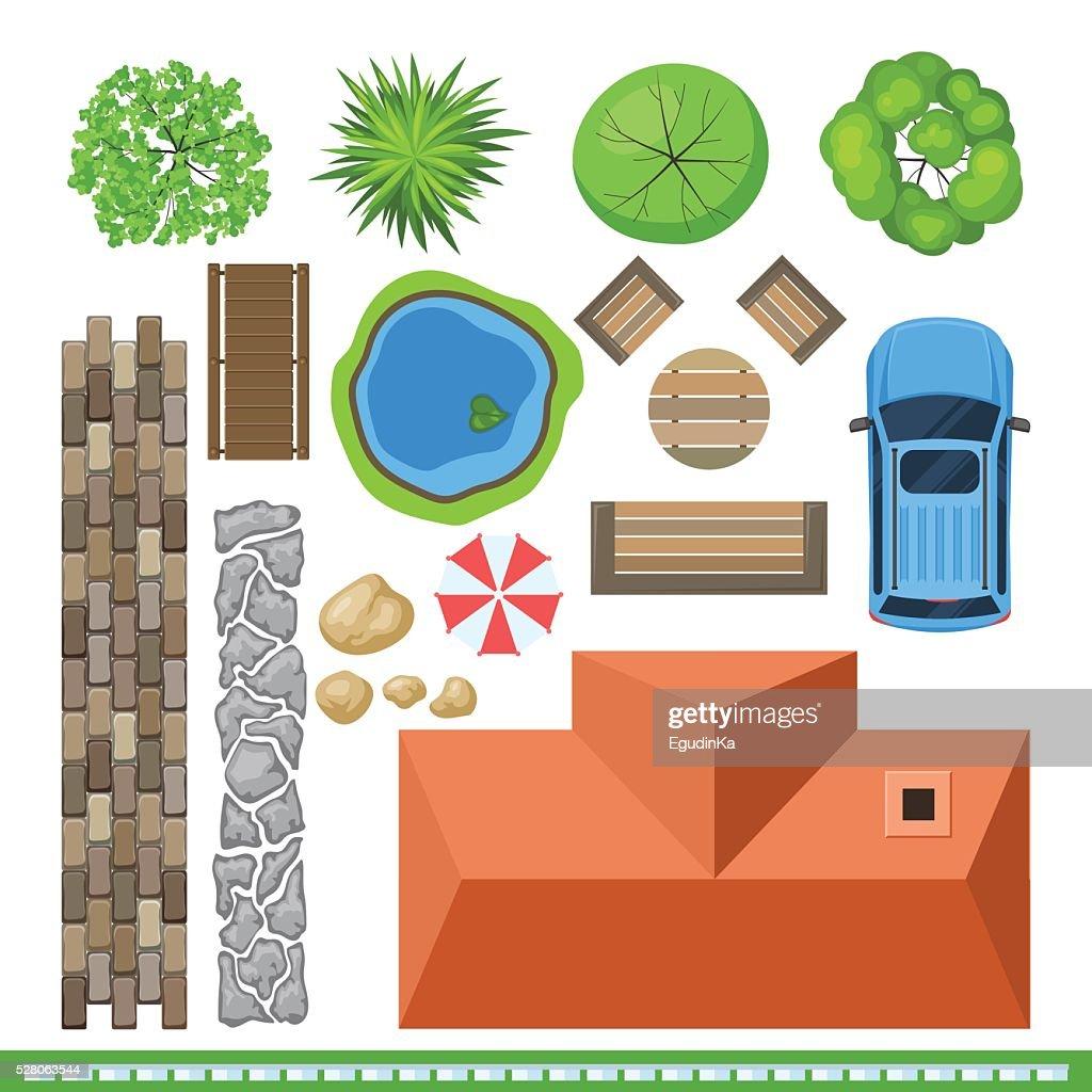 Landscape elements for project design, top view