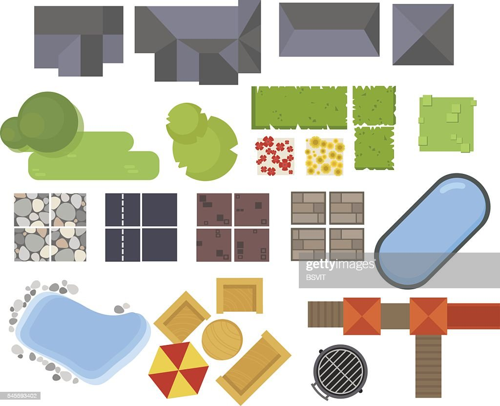 Landscape elements, top view. House, garden, tree, lake,swimming pools