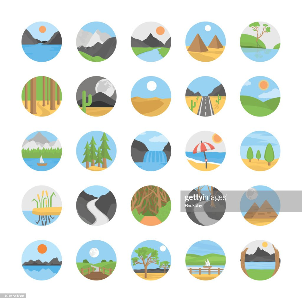 Landscape Flat Vector Icons Set