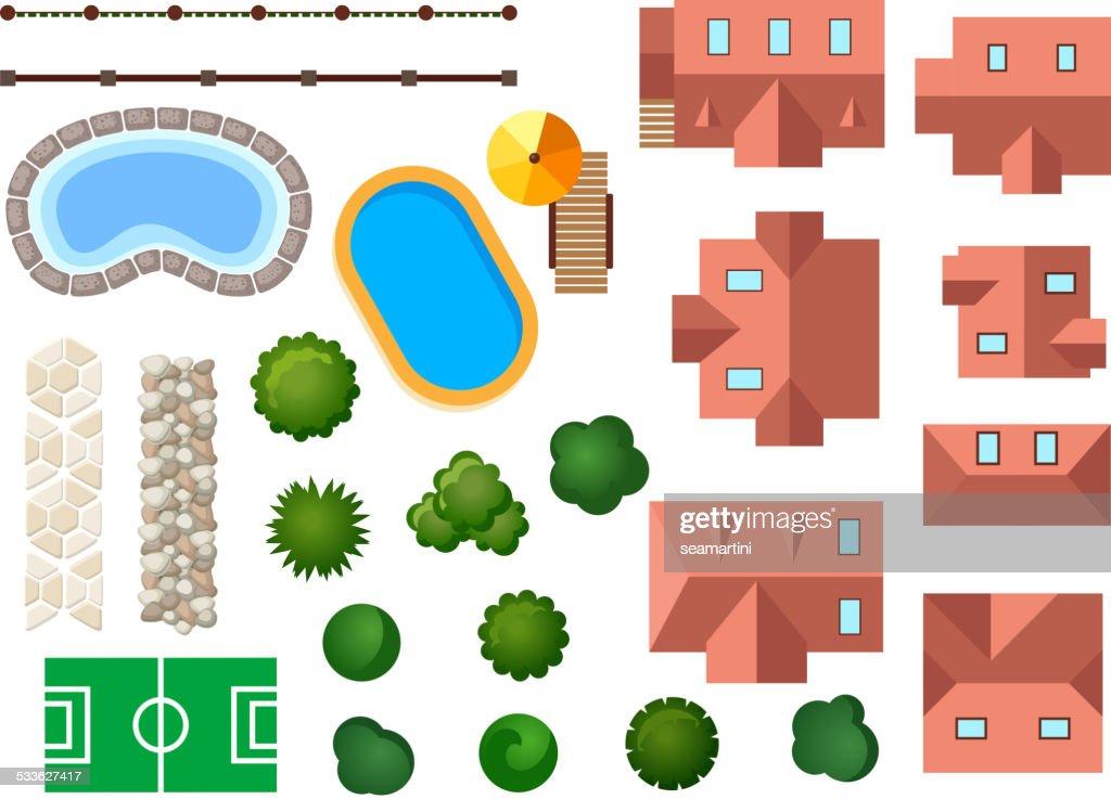 Landscape, garden and architectural elements