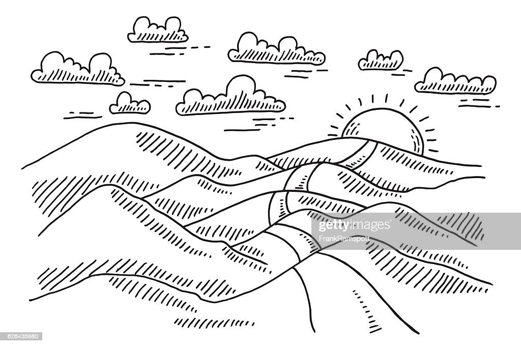 Landscape Hilly Road To The Sun Drawing : Stock Illustration