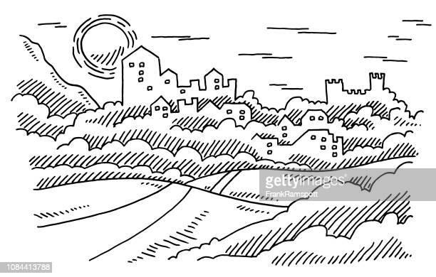 Landschaft historischen Stadtburg Zeichnung